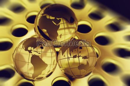 globusse aus kristall