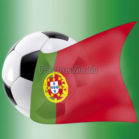 fussball mit portugalflagge