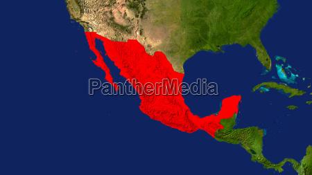 mexiko rot hervorgehoben mittelamerika
