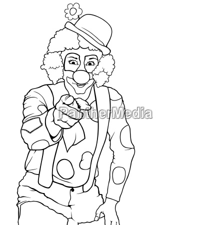 black and white happy clown pointing