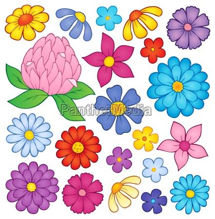 stylized flower heads theme set 2