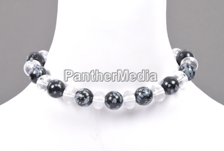rock crystal and snowflake obsidian chain