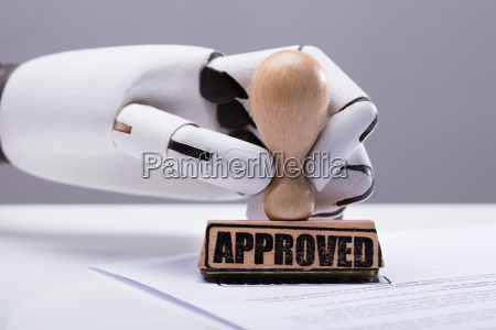 robot hand approving document