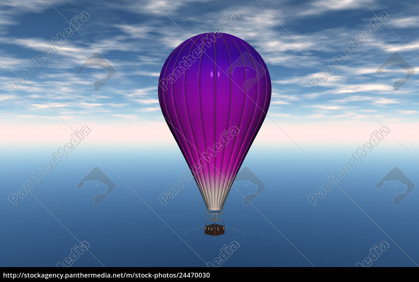 heiluftballon, mit, transportkorb, am, himmel - 24470030