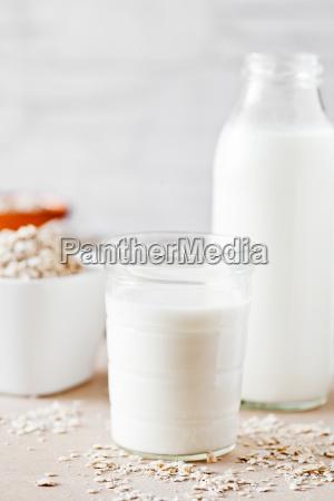 small glass of oat milk
