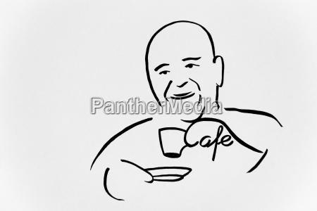 aelterer herr im cafe trinkt kaffee