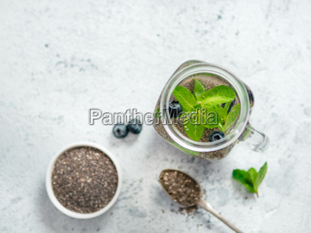 mint and blueberry chia water in