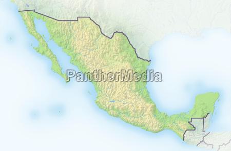 mexiko schattierte reliefkarte mittelamerika