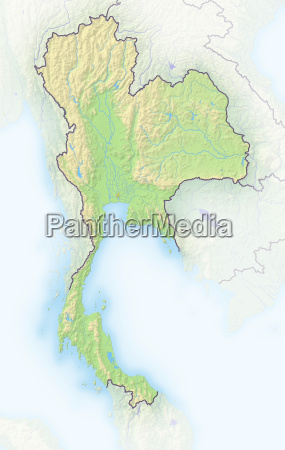thailand schattierte reliefkarte asien