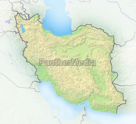 iran schattierte reliefkarte