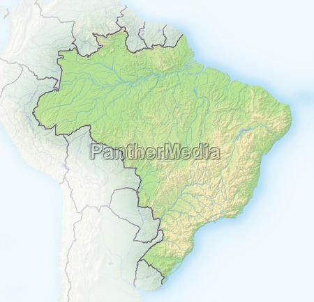 brasilien schattierte reliefkarte sudamerika