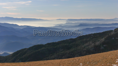 beautiful spanish landscape from mountain montseny