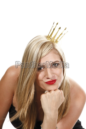 young woman with golden crown in