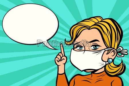 frau in der medizinischen maske