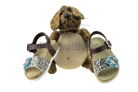 girls sandals are decorated of