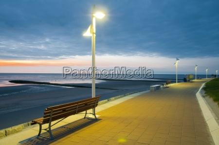 promenade, , meer, , laterne, , bank, , dammerung, , norderney, - 24524442