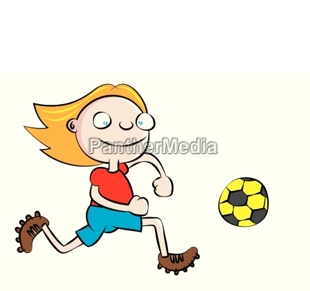 lustige weisse schulmaedchen fussballspielen