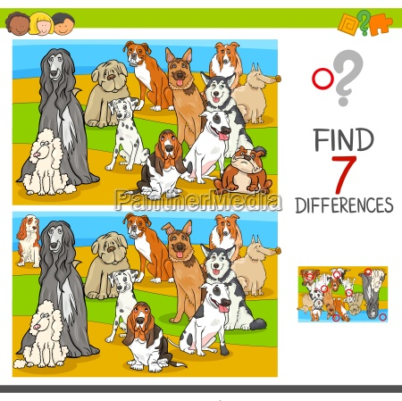 find differences game with dog animal