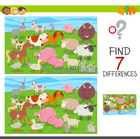 find differences game with farm animals