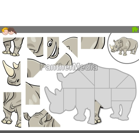 jigsaw puzzle game with rhinoceros animal