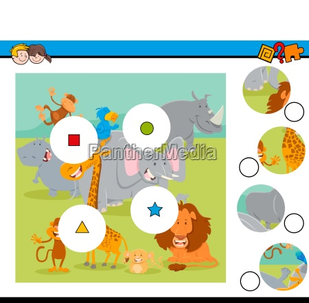 match pieces puzzle with safari wild