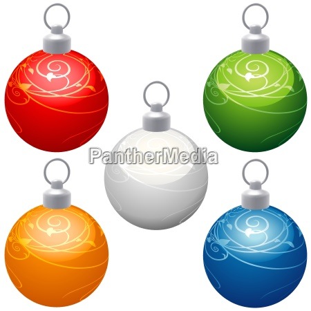 christmas balls with spiral decoration