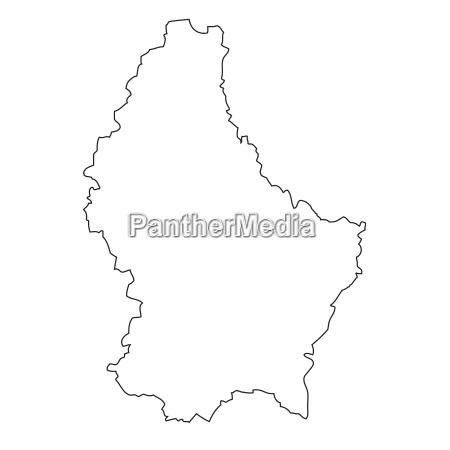 umriss karte von luxemburg