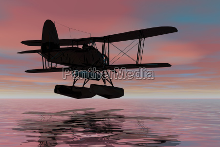 seaplane on landingsilhouette3d graphic