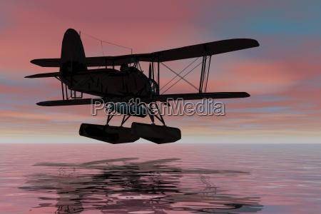 wasserflugzeug, bei, der, landung, , , silhouette, - 24554606