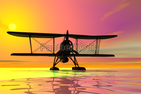 seaplane on landingsilhouette3d graphic
