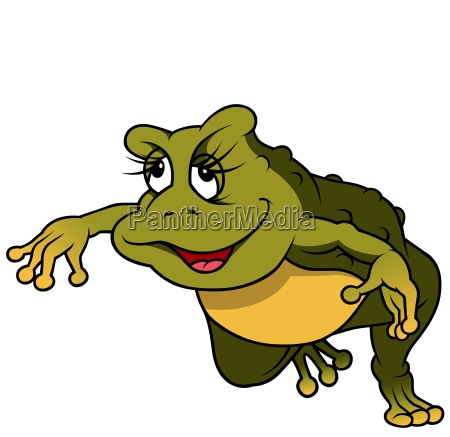 jumping green female frog