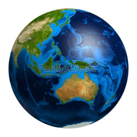 erdkugel mit ozeanien australien