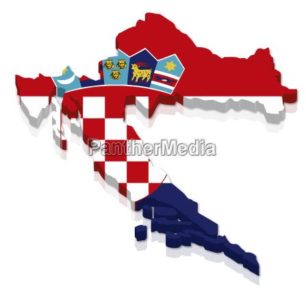 umriss und flagge von kroatien