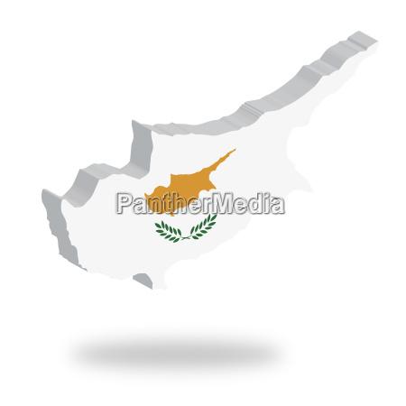 umriss und flagge von zypern