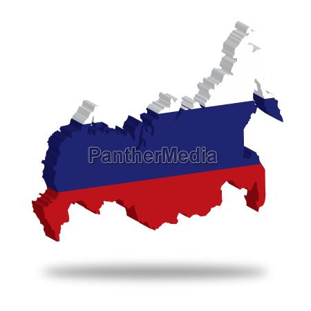 umriss und flagge von russland