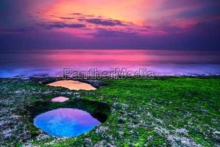 sunset on the beach in bali
