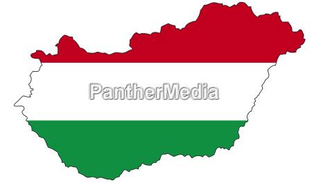 ungarn, , , flagge, , , umriss, , - 24586730