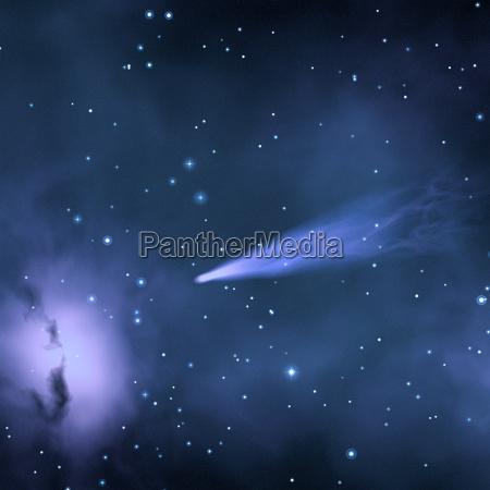 komet und sternennebel im weltall