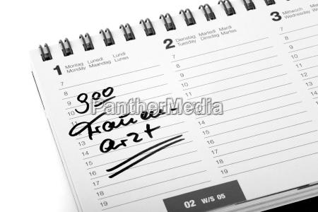 termineintrag frauenarzt in einem terminkalender