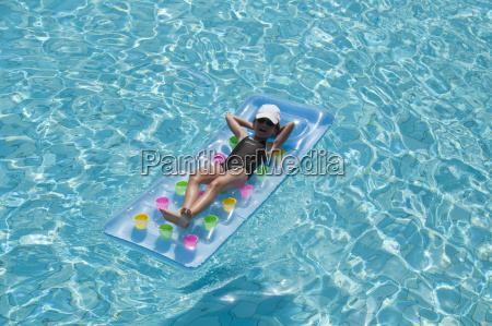 girl eight years old relaxing on