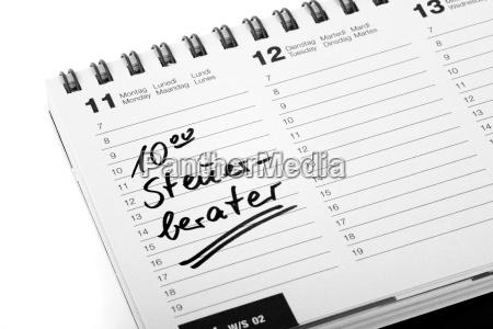 termineintrag steuerberater in einem terminkalender