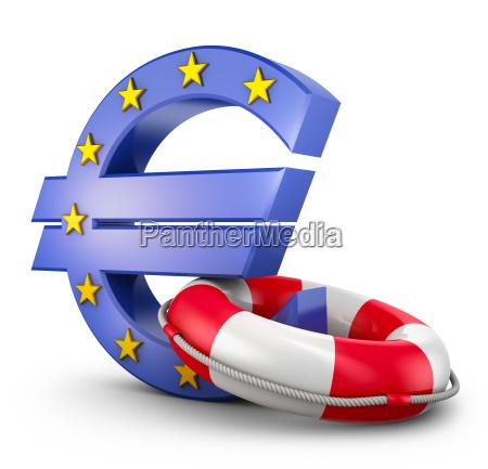 euro sign and lifebuoy