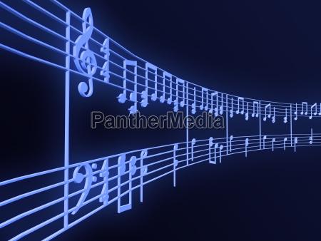 musiknoten konzeptbild musik 3d