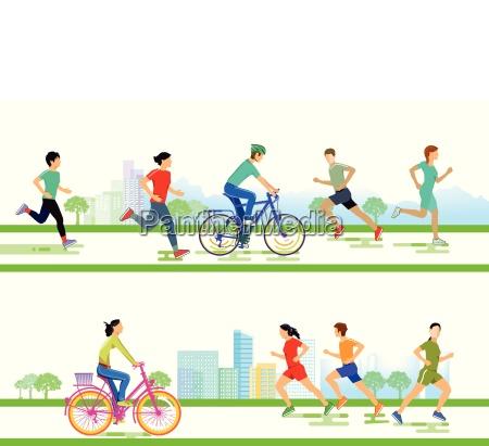 gruppe von laeufern und fahrradfahrern