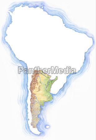 detailreich handgezeichnete karte von argentinien mit