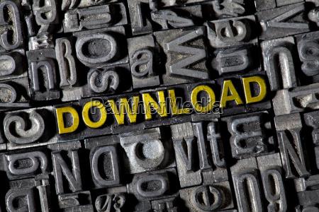 alte bleilettern bilden das wort download