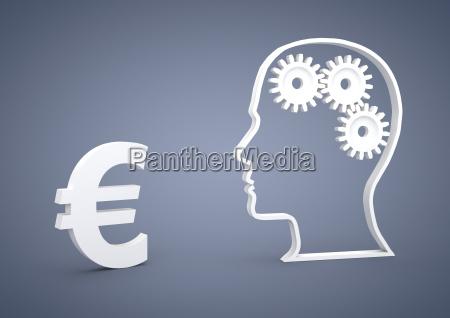 kopf mit zahnradern eurozeichen