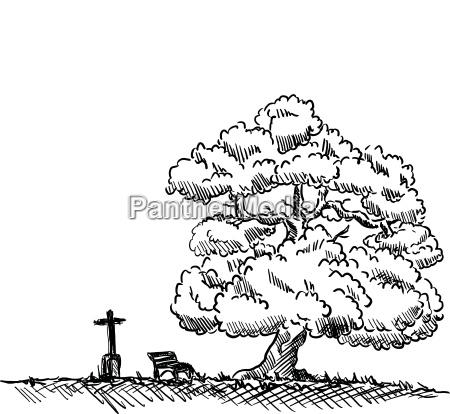 freisteller farbe baum illustration abgeschieden malen