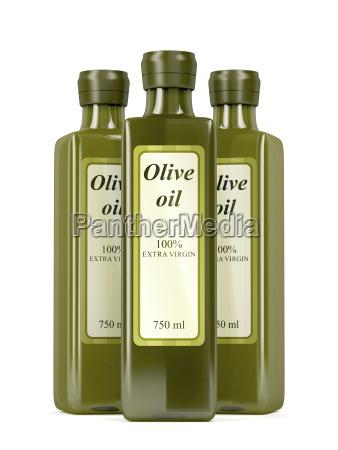 olivenoelflaschen auf weiss