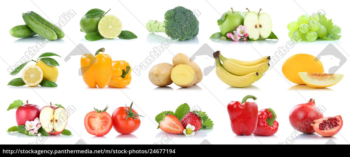 Früchte Obst und Gemüse Apfel Tomaten Farben Sammlung - Stock Photo ...